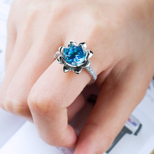 Rings for women Costume jewelry Fashion sea blue  gemstone ring female brand Halloween inlaid zircon B2457