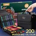48/72/120/150/200 Профессиональный масляный цветной карандаш набор акварель цветные карандаши для рисования с сумкой для хранения цветные каранда...