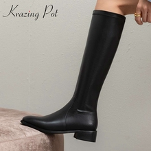 Knee-High Boots Shoes Heel Winter Big-Size Simple Square Solid L58 Krazing-Pot Cozy Toe-Med