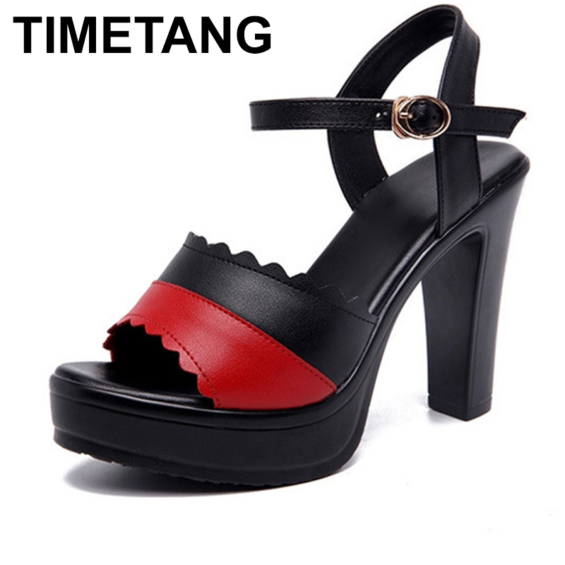 TIMETANG2019 new summer one word buckle Women's breathable sandals Round head Gross women tall sandals mixed colors 35 43 E1301