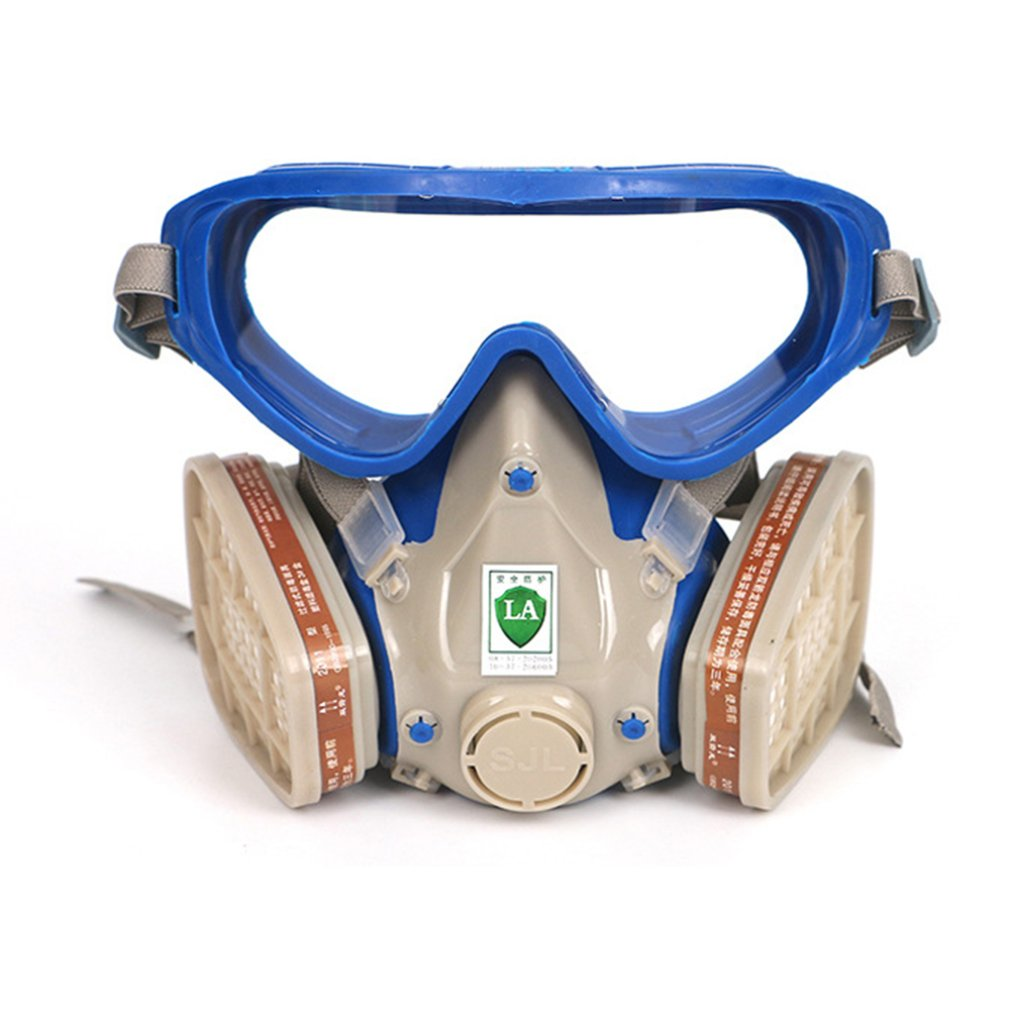 Double Tank Mask Two Valves For Easy Breathing Easily Adjustable Strap Filtering Small Dusts Mists 1 Set