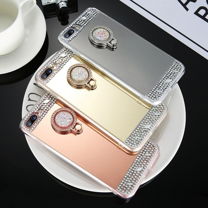 Mirror Diamond TPU Phone Back Cover For <font><b>OPPO</b></font> R17 RX17 Neo A9 F11 AX7 Pro R15X AX5 A5 A3S <font><b>F7</b></font> F9 A7X A7 Find X Bling <font><b>Case</b></font> image