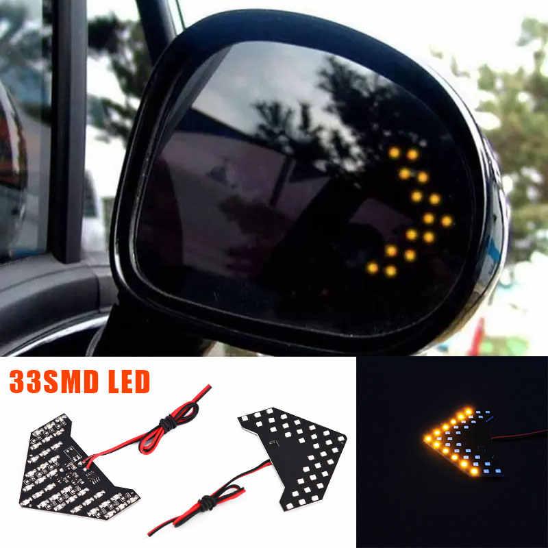 Samochód lusterko wsteczne lampa 33SMD LED samochody strzałka światło kierownicy 7000K 12V DC auto wskaźnik migacz światła akcesoria samochodowe