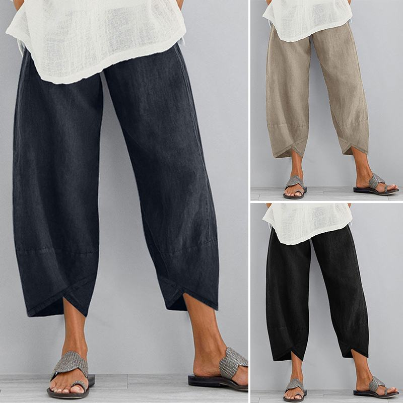 ZANZEA Vintage Women Cotton Linen   Wide     Leg     Pants   Ladies Solid Asymmetric Long Trousers Casual Pockets Elastic Waist Cargo   Pants