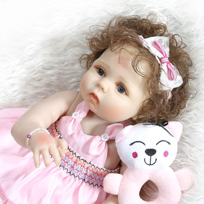Capelli ricci ragazza bambola reborn 23 pieno silicone reborn baby dolls giocattoli per il regalo dei bambini bebe reborn menina bonecas morbida bambola BJD - 4