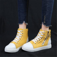цены Woman High Top Spring Autumn Canvas Shoes 2020 Female Fashion Casual Shoes Zipper Hided Wedge Lady Sneakers Pink Green Yellow