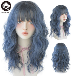 7JHH WIGS Blue Deep Wave Wig With Bangs For Women Long Omber Brown Hair Layered Heat Resistant Cosplay Party Synthetic Wig(China)