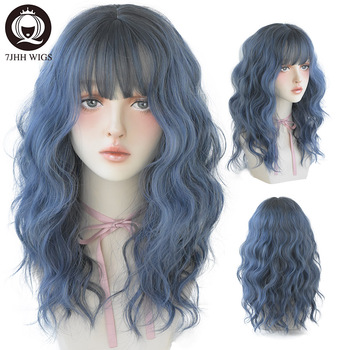 7JHH WIGS Blue Deep Wave Wig With Bangs For Women Long Omber Brown Hair Layered Heat Resistant Cosplay Party Synthetic Wig