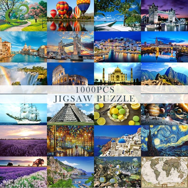 75*50cm 지그 소 퍼즐 1000 조각 조립 그림 풍경 퍼즐 성인을위한 장난감 어린이 게임 교육 완구 YJN