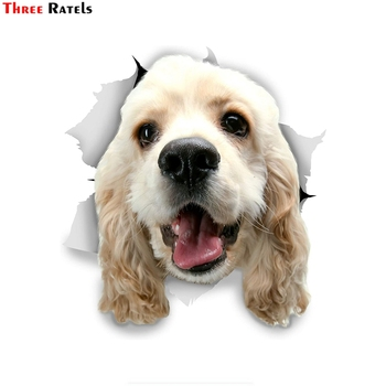 Three Ratels FTC-1090 3D Dog Stickers Car Sticker White Cocker Spaniel For Wall Fridge Toilet Luggage Skateboard Laptop image