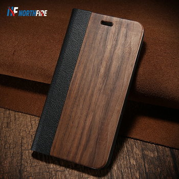 NORTHFIRE Bamboo Natural Wood Case For iPhone 11/11 Pro Max XR X XS Max 6/6S/7/8 Plus PU Leather Flip Case Coque Pouch