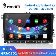 Podofo – autoradio Android 8.1, GPS, WIFI, lecteur multimédia, 2 Din, pour voiture VW Golf Polo, Skoda Rapid Octavia Tiguan, Passat, Jetta