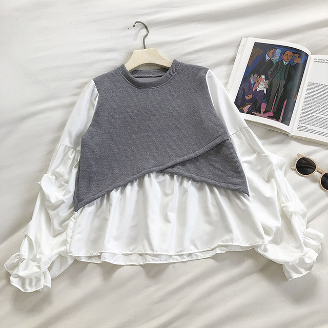 Kimutomo 2021 Spring Fashion Patchwork Blouse Women O-neck Puff Sleeve Solid Shirt Ladies Fake Two Piece Tops Outwear New 2