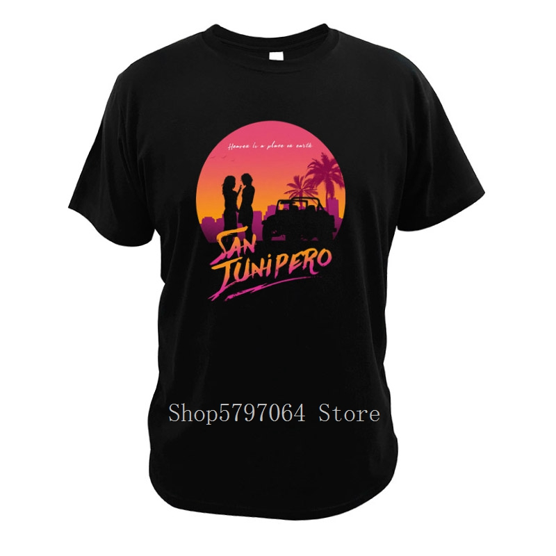 San Junipero T Shirts Fantasy Tv Series Heaven Is A Place On Earth Songs Tees Black Mirror Cotton Size 3XL Tops image