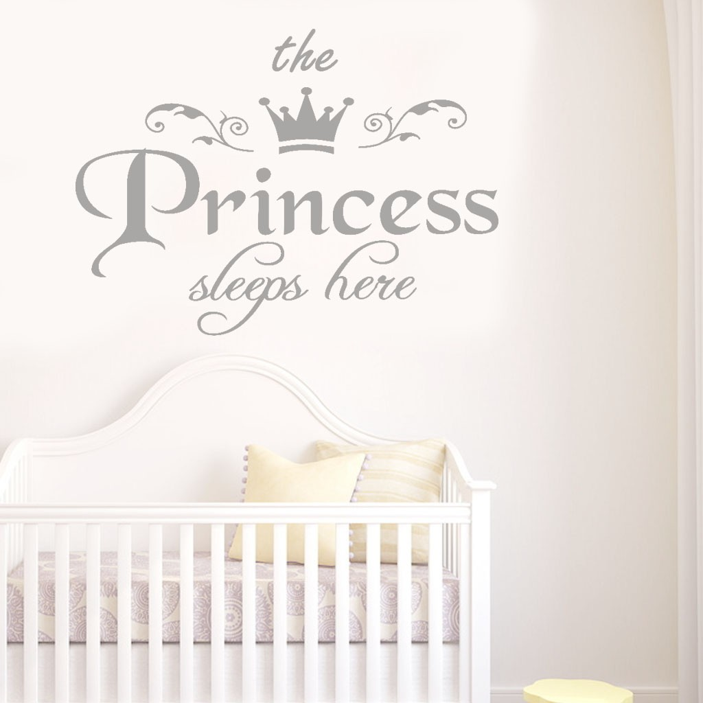 Princess Sleeps Here DIY Removable Girls Bedroom Wall Sticker Home Decals new
