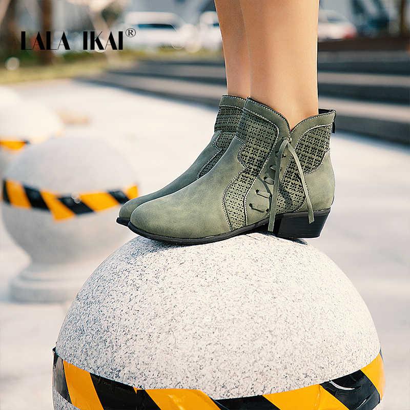 LALA IKAI kadın sonbahar kış yarım çizmeler dantel-up Hollow su geçirmez ayakkabı Pu deri kadın fermuar saçaklı Chelsea çizmeler WC4747-4
