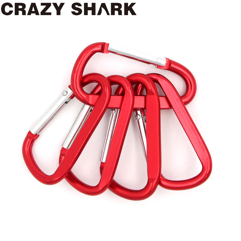 Crazy Shark 5PCS/2PCS Fishing Aluminum Alloy Carabiner Keychain Outdoor Camping Climbing Snap Clip Lock Buckle Hook Fishing Tool