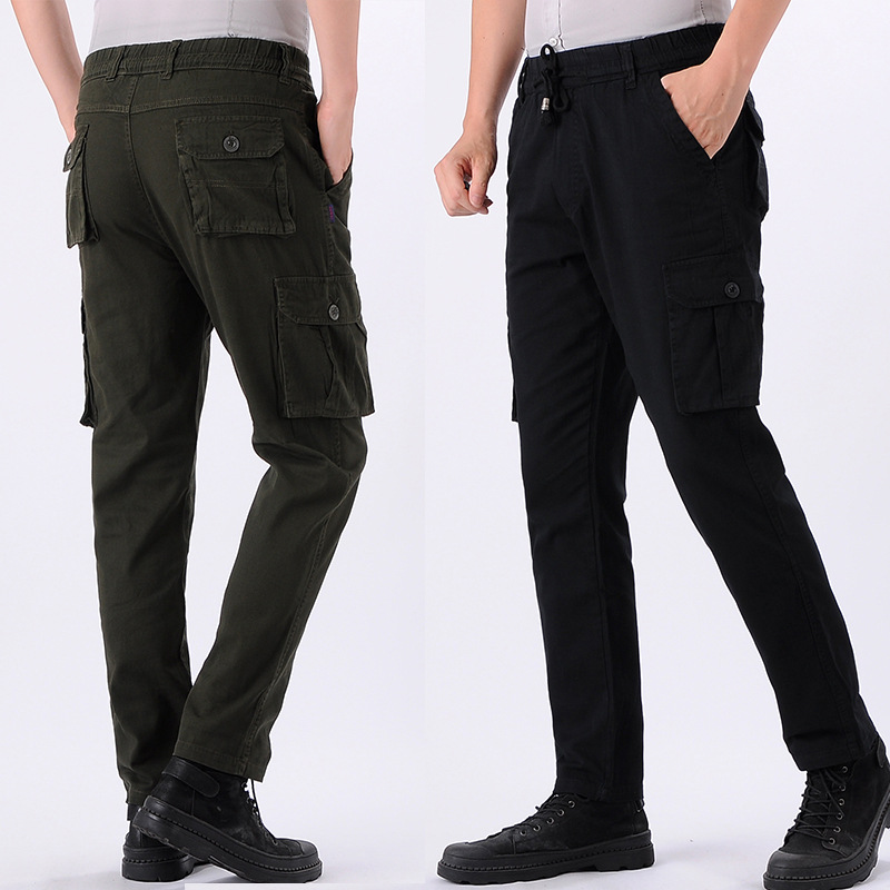 Pure Cotton Cloth Multi-pockets Bib Overall Men Beam Leg Casual Pants Loose Breathable Work Pants Elastic Waist Drawstring Pants