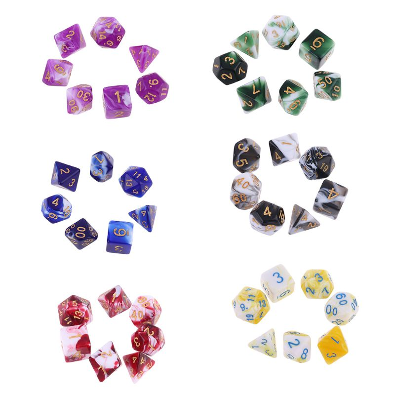 7 Pcs Polyhedral Acrylic Dices Double Colors Digital Multi Sided Game Supplies