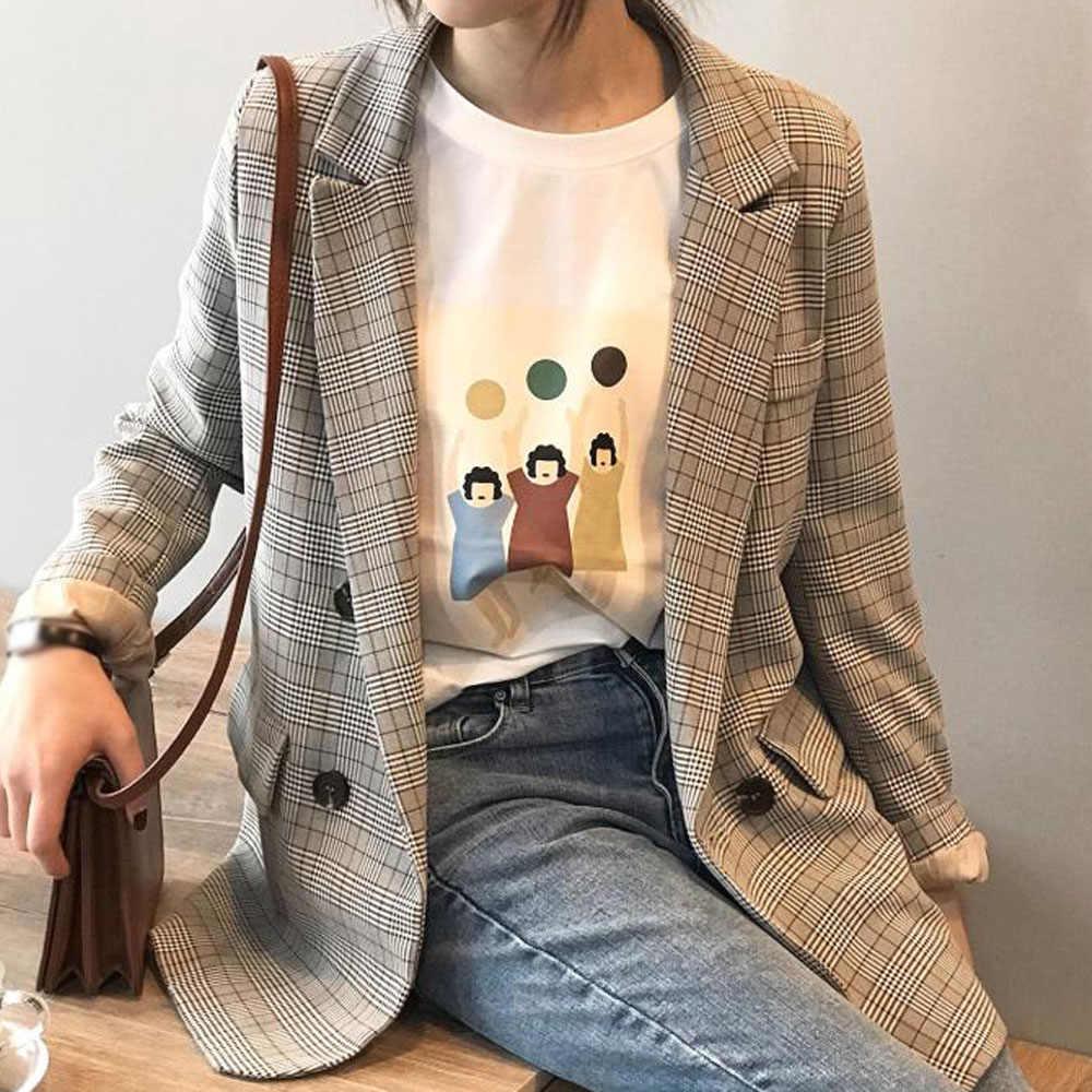 秋ゆるいチェック柄プリントブレザージャケットカジュアル女性ダブルブレストポケット設計コートエレガントなオフィスの女性のスーツブレザー