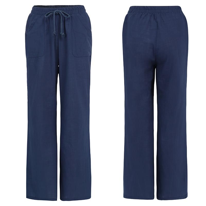 Oversized Trouser Celmia Women Vintage Linen Palazzo Fashion Long Wide Leg Pants Casual Elastic Waist Solid Loose Pantalon Femme 4