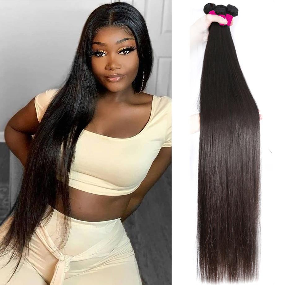 Straight Bundles Bone Straight Hair 30 Inch Long  Natural  1 3 4 Bundles  Virgin Hair Bundles 2