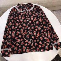Шелковая рубашка женская весна осень длинный рукав отложной воротник элегантная рабочая одежда топ Корейская мода блузка рубашка черного