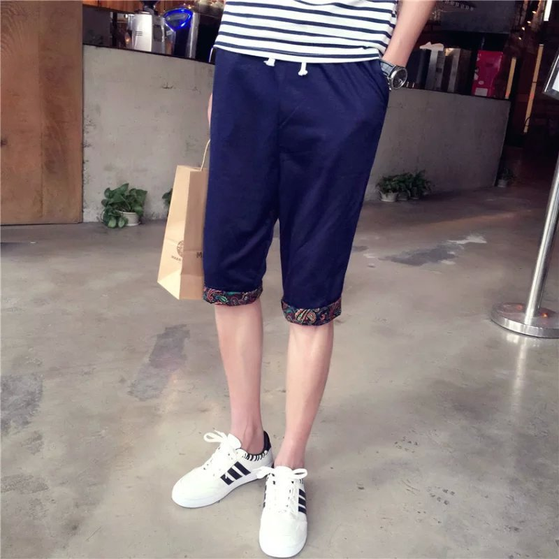 Summer New Style Men's Korean-style Jeans Trend Of Fashion Capri Nation Shorts Beach Casual Elasticity