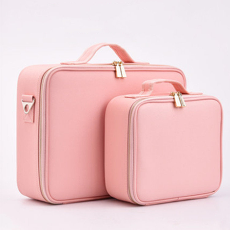Profession Storage Partition Cosmetic Makeup Bag Pink Customizable  Manicure Toolbox