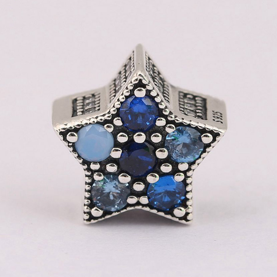 Authentic S925 Silver Bead DIY Jewelry Bright Star Charms fit Pandora Bracelet Girl Lady Birthday Gift Multi-Colored Crystals(China)