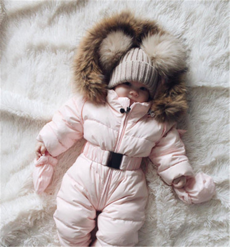 Infant Baby Long Sleeve Lamb Cashmere Down Baby Snowsuit Duck Down Jacket For Girls Coats For Infant Boy Snowsuit Snow Wear