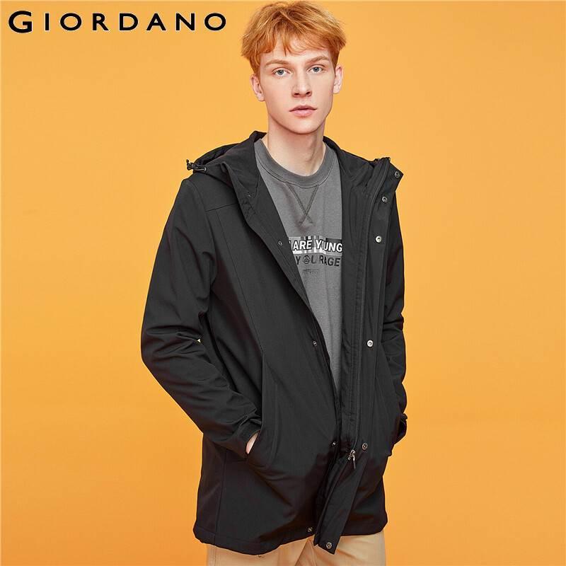 Giordano Men Jackets Polar Fleece-lined Mid-long Hooded Jacket Windproff Double Pockets Warm Casaco Masculino 01079652