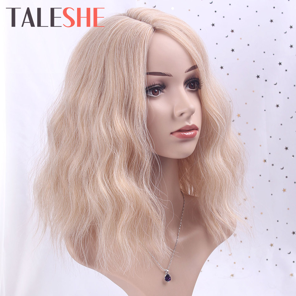 TALESHE Short Wig Water Wave Mixed Blonde And Brown 8Colors Side Part Synthetic Wigs For Black Women Ash Pink Cosplay False Hair