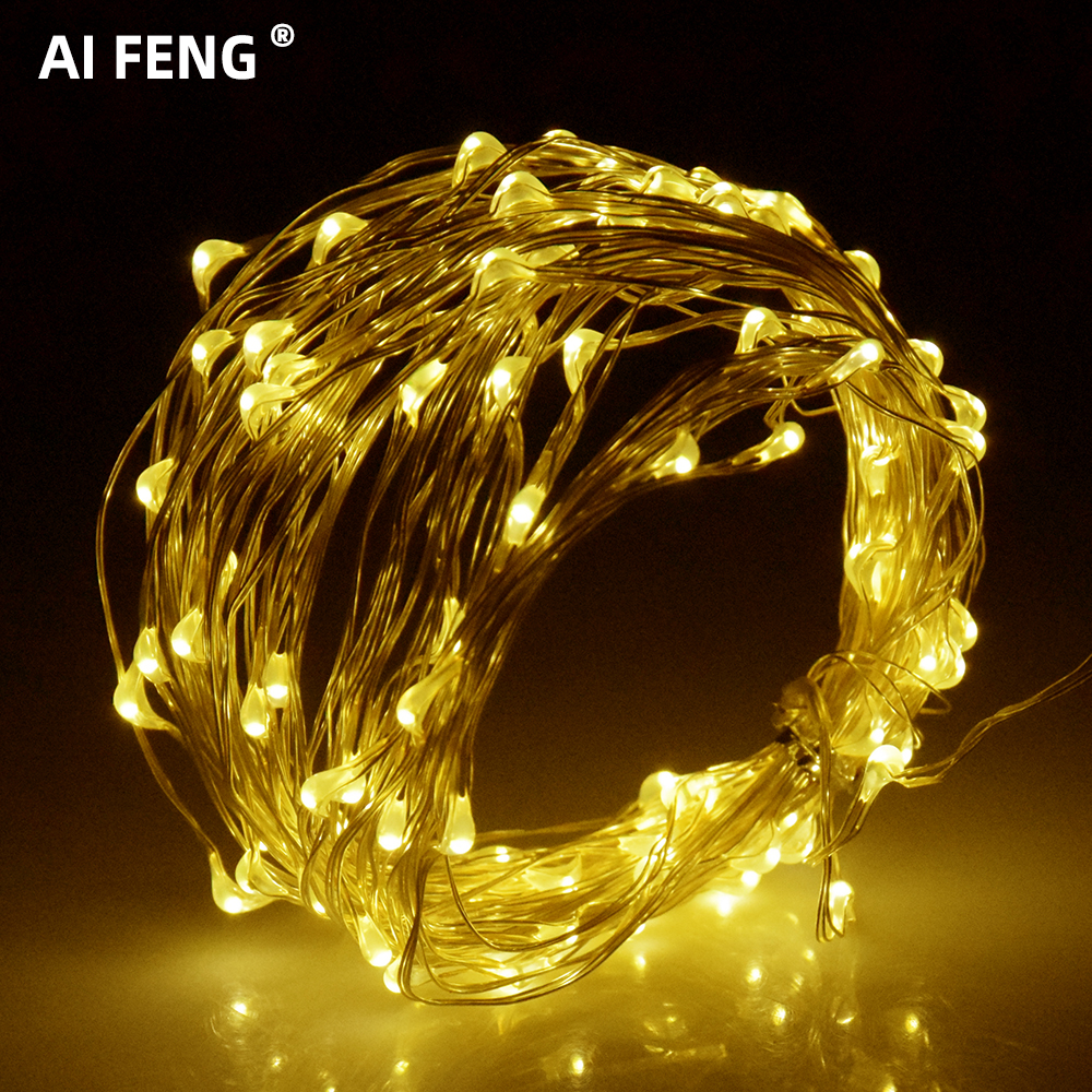 Aifeng Fairy ไฟแบตเตอรี่ AA Powered USB ทองแดงสายไฟ 10 M 5 M 4 M 3 M 2 M 10 M LED String ไฟ LED ตกแต่ง Garland