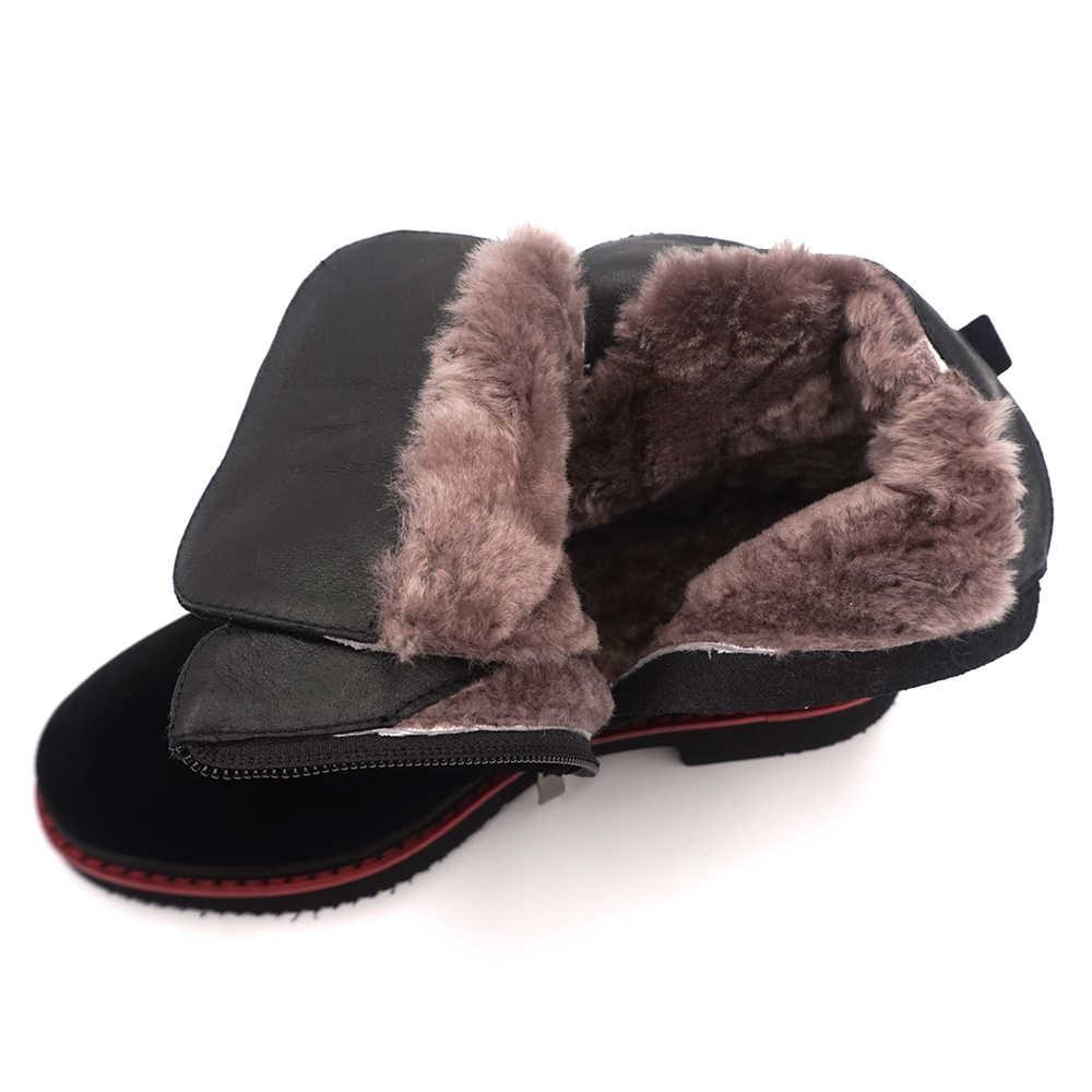 Zapatos de invierno para mujer de piel de lana VAIR MUDO botas de tobillo cálidas zapatos de mujer zapatos de cuero genuino primavera otoño cuadrado de tacón bajo para mujer DX1