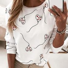 Nowe mody bluzki damskie jesień 2020 Camiseta Mujer z długim rękawem Love Heart T Shirt Casual O-Neck luźne kobiety Tee ubrania w stylu Harajuku tanie tanio Poliester CN (pochodzenie) Wiosna jesień NONE Osób w wieku 18-35 lat Drukuj Pełna REGULAR TJA0405 Szyfonowa Na co dzień