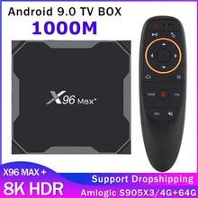 Nova venda 1000m x96 max mais android 9.0 caixa de tv inteligente amlogic s905x3 4gb 32 64gb 8k 2gb 16gb caixa de tv transporte rápido conjunto caixa superior