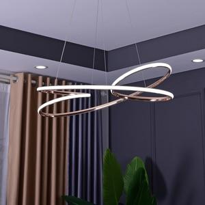 Image 5 - ניאו זהב בוהק מצופה כרום מודרני Led תליון אורות חדר אוכל מטבח חדר בר חנות תקרת מנורת 90 260V משלוח חינם
