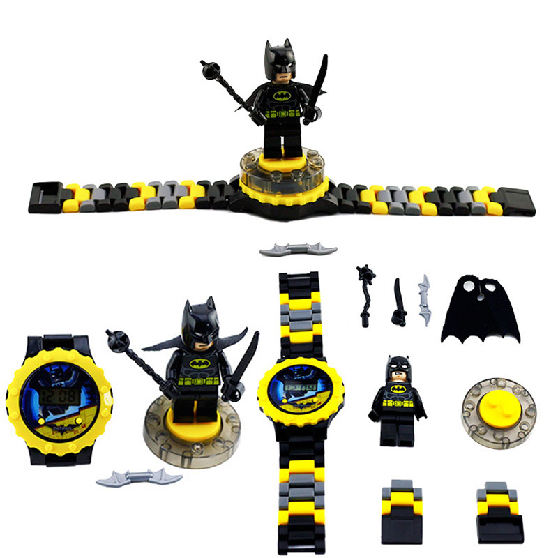 N0001 Children Watch Spiderman Batman Hulk  Moana Princess Building Blocks  Figures Children Watch Toys Kids Watch