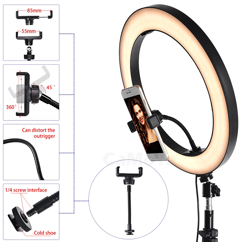 cheapest Novelty USB Dimmable LED Selfie Ring Light CellPhone Photography Lighting With Tripod For Youtube Makeup Video Live Studio Light