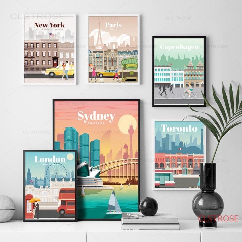 Лондон, Нью-Йорк, Париж, Карта города Испании, Настенная картина на холсте, скандинавские постеры и принты, настенные картины для гостиной, д...