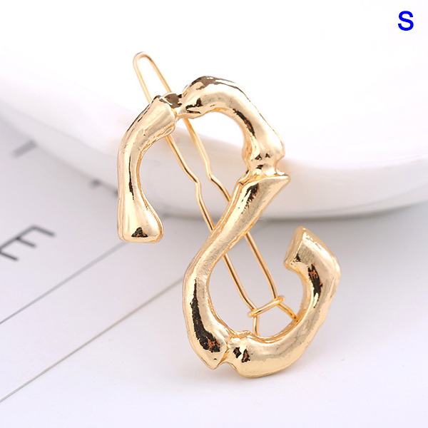 Simple Hairpin Letter Buckle Alloy Material Retro Wind Clip Hairstyle Girl TY53