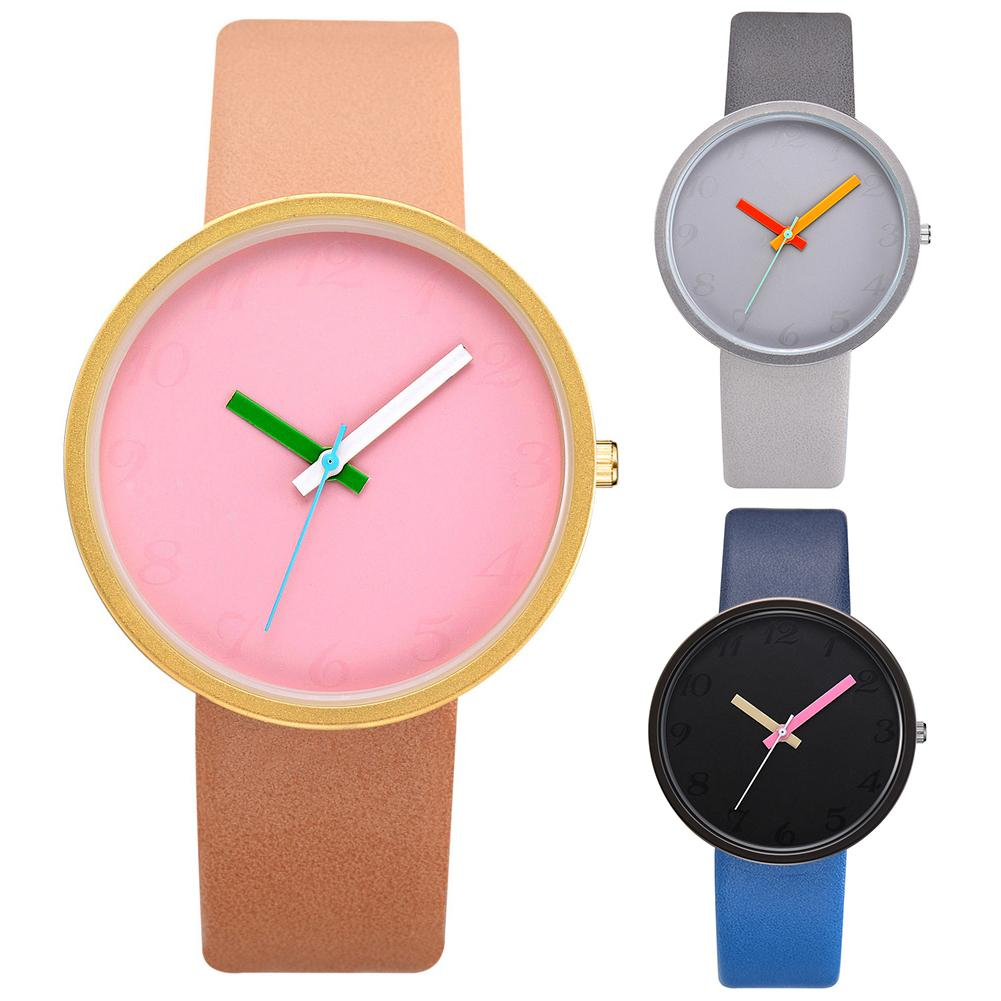 3 Candy Color Woman Watches Simple Casual Personality Faux Leather Digital Analog Quartz Ladies Wrist Watch Reloj Hombre Montre
