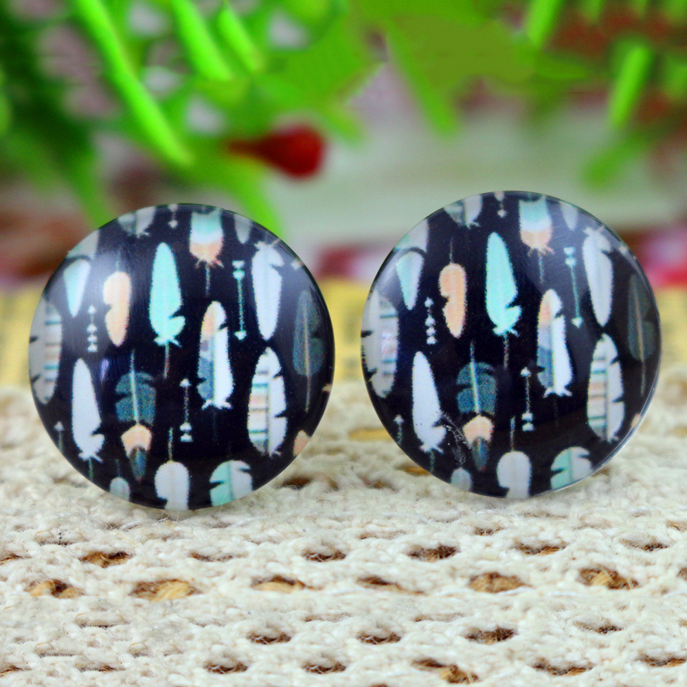 10pcs 20mm Classical Lines Kaleidoscope Handmade Photo Glass Cabochons