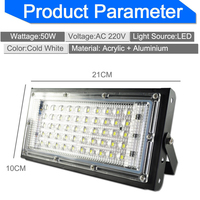 Foco reflector LED de 50W para iluminación exterior, lámpara de calle, foco de pared para jardín, 110/220V