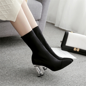 Image 5 - 2019 Autumn Spring Fashion Women Silk Socks Boots Satin Yarn Elastic Ankle Boots Clear Perspex Heels Boots Slip On Party Shoes