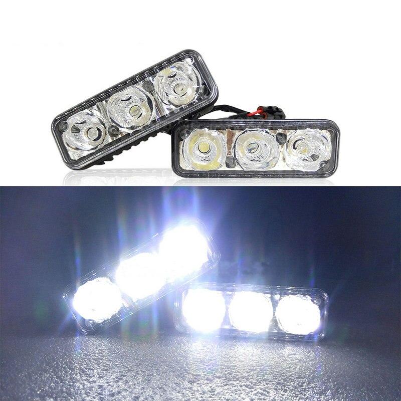 2pcs Car Auto Daytime Running Light Daylight Car Styling Lamp DRL 3 LED 12V Waterproof Lights Fog Light 6000K Car-styling Bulb