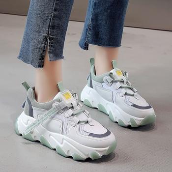 2020 moda hakiki deri mesh kapalı beyaz yuvarlak ayak 5CM düz platformu tıknaz ayakkabı kadın yeşil rahat ayakkabılar bahar/Sonbahar