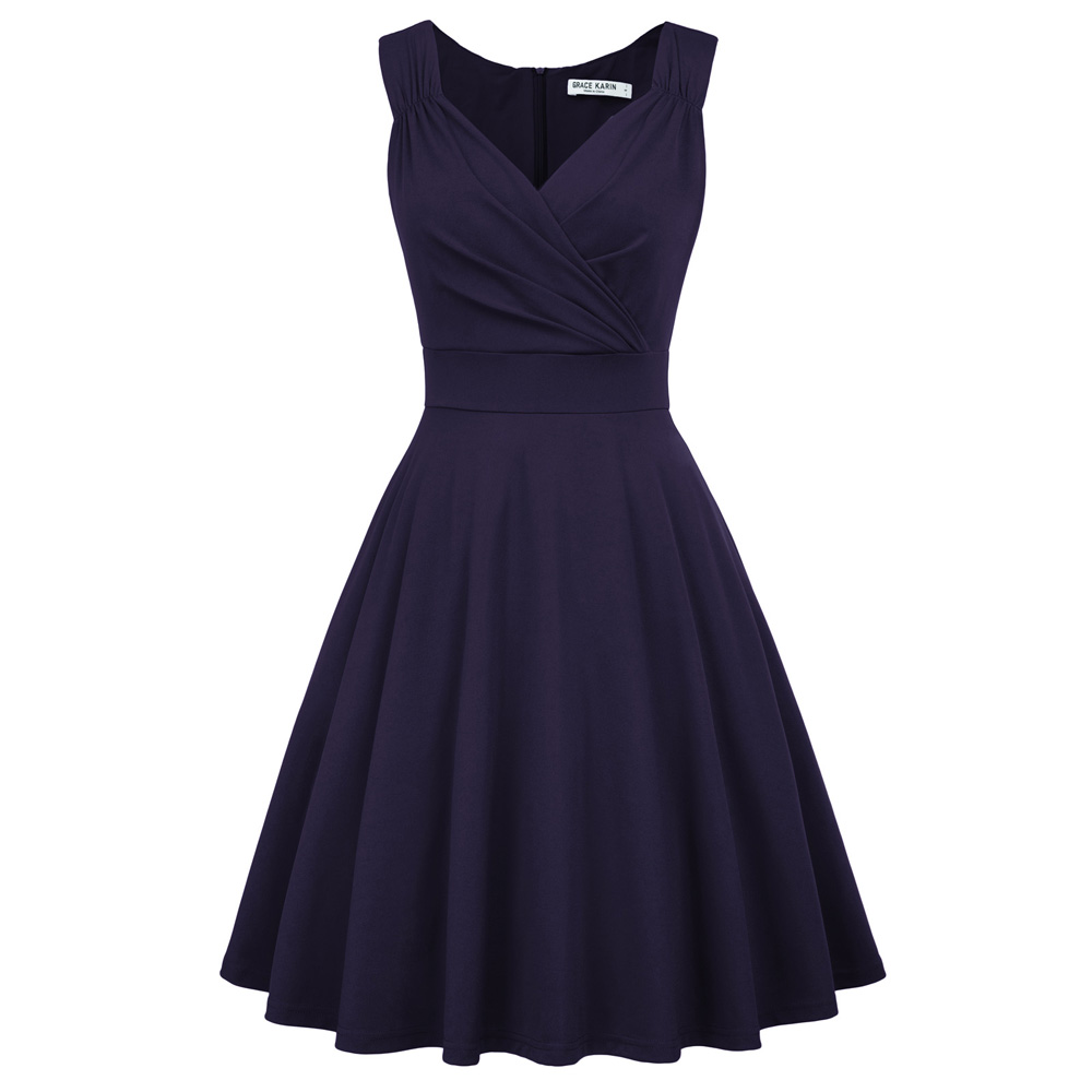 Women/'s Elegant Solid Casual V-Neck Sleeveless Party Knee-Length A-Line Dresses