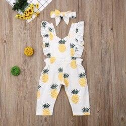 Emmababy Одежда для новорожденных девочек, без рукава для девочек с рюшами и рисунком ананаса для девочек детский комбинезон с повязкой-бантом, ...